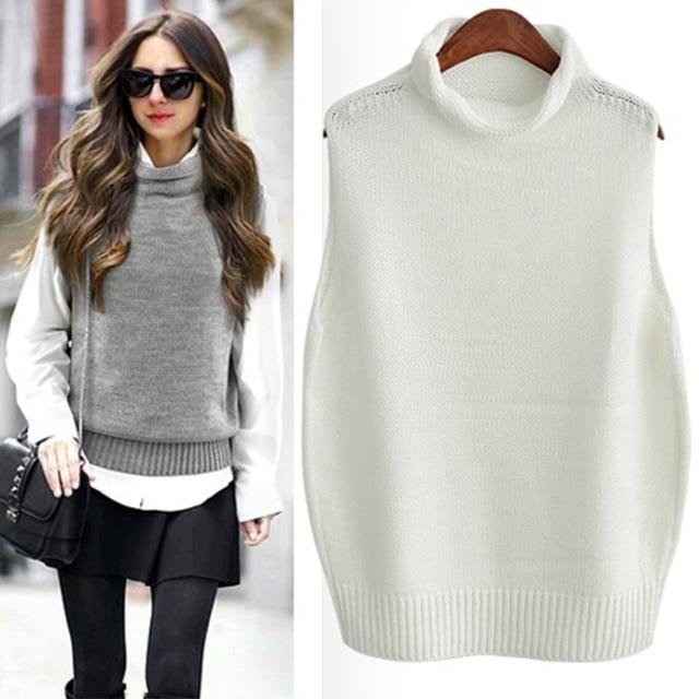 FRSEUCAG Hot high collar sleeveless loose ladies vest ladies knit fashion sleeveless sweater wholesale Brand pullover women 2019 2