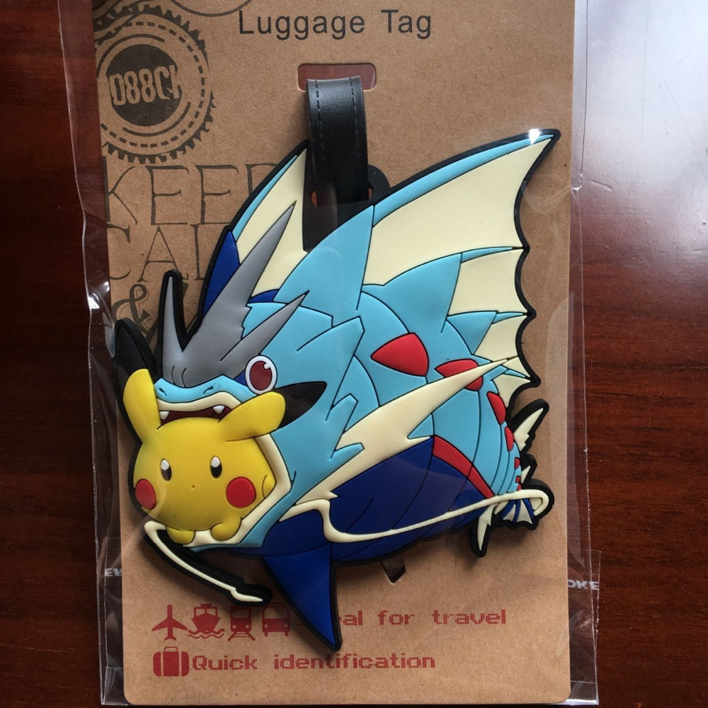 1pcs Super Marion Bag Pendant Travel Name Tag Novelty Toys In Gags Luggage Pikachu And Gyarados Pvc