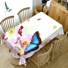 Pastoral style Polyester 3d Round Tablecloth Colorful Butterfly&Flowers Pattern Thicken Cotton Rectangular Wedding Table cloth