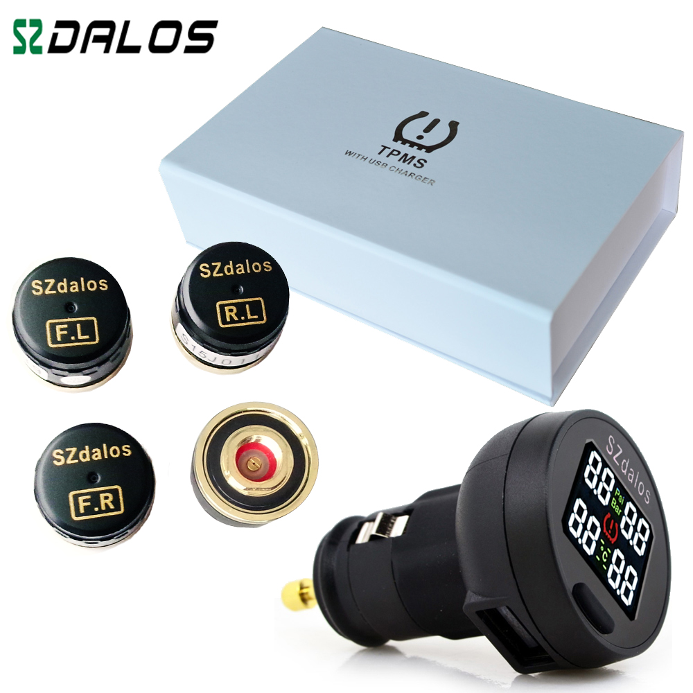 SZDALOS TP200 font b TPMS b font Car Wireless Tire Pressure Monitoring System 4 Mini Sensors