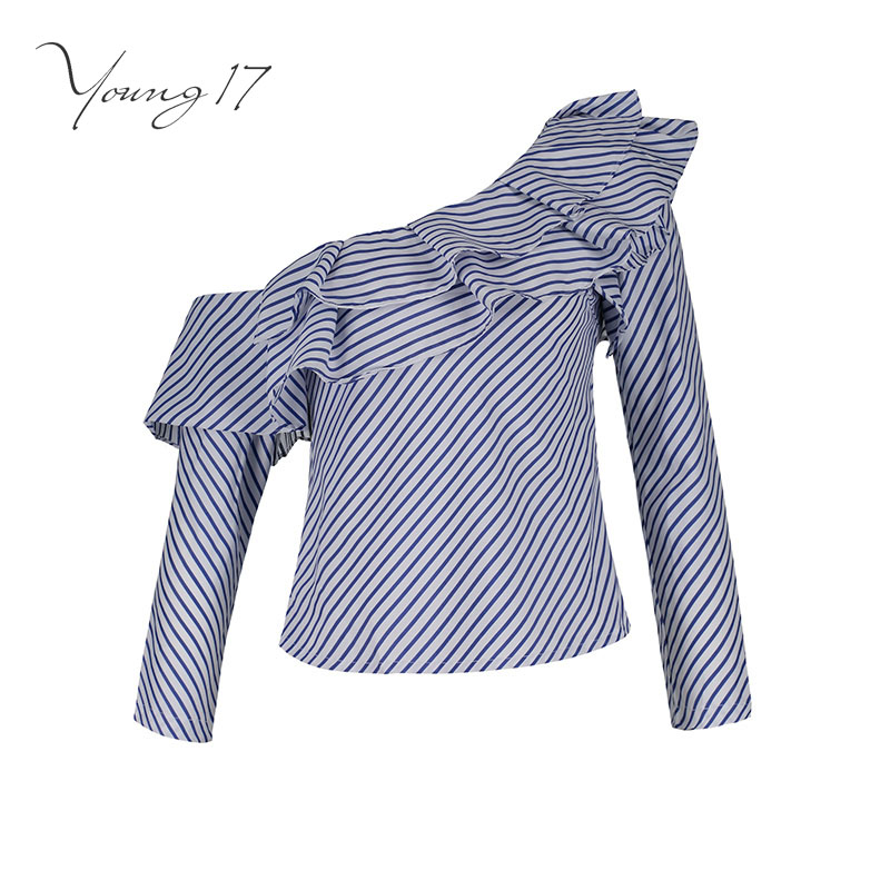 Young17   blouse     shirt   new summer top blue striped ruffled off one shoulder long sleeve women sexy party top women   blouse     shirt