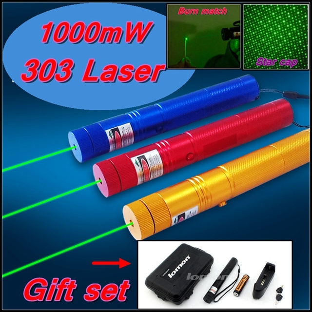 [ReadStar]RedStar Red 303 high 1W Laser pointer laser pen burn match star pattern cap 4 color Gift set include battery & charger