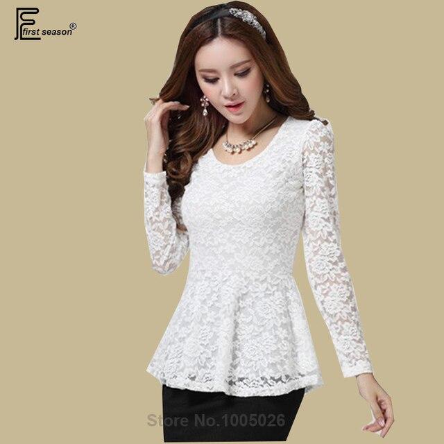 b3eafdf43d3 Cut Out Lace Shirts Women Floral Crochet Sexy Blouse Autumn Winter Basic Shirt  Long Sleeve Lace