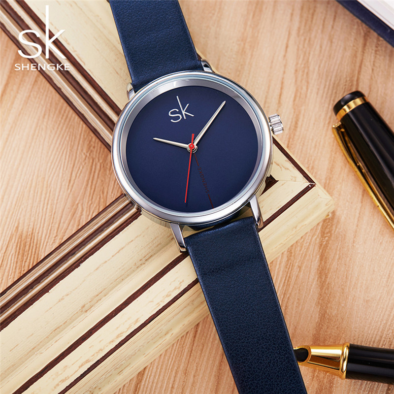 Shengke Top Brand Innovative Læder Watch Fashion Quartz Watch - Dameure - Foto 5