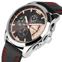 Mens Red Pointer Watch Luxury Brand Casual Fish Scales Leather Genuine Chronograph Military Male Quartz Calendar