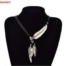 SunWard Fashion Necklace Bohemian Style Black Rope Chain Feather Pattern Pendant Necklace 1 Pc