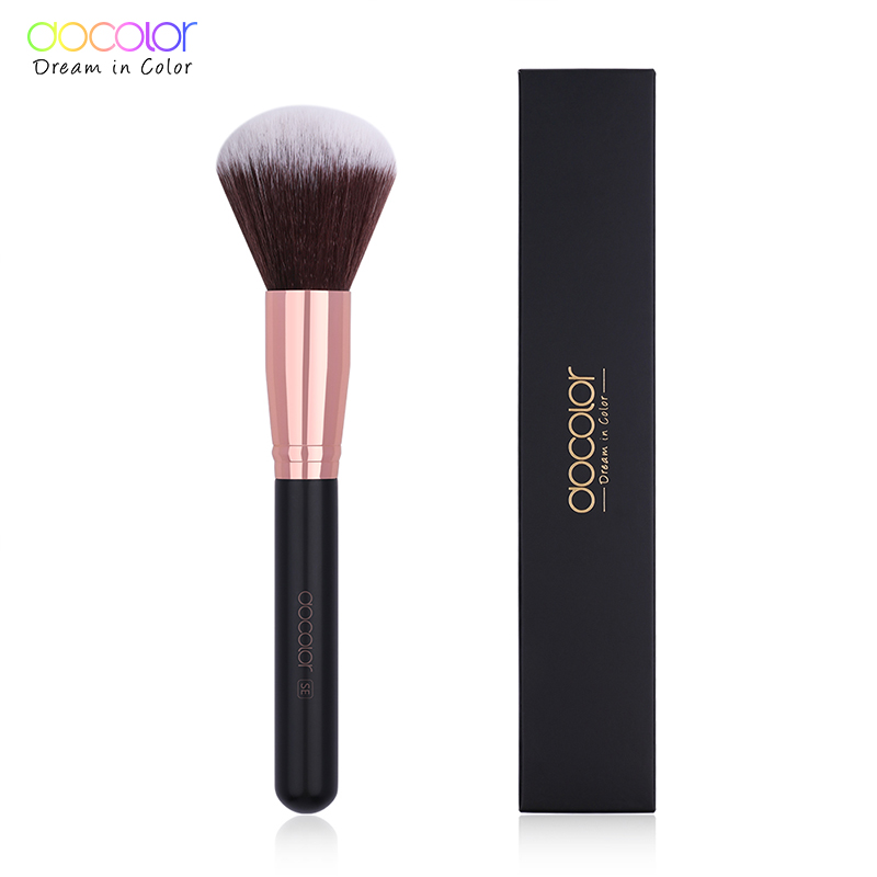 Docolor 1PC Large Powder Brush Classic Makeup Brush Beauty Essential Cosmetic Brush Soft Synthetic Hair Make up Tools(China)