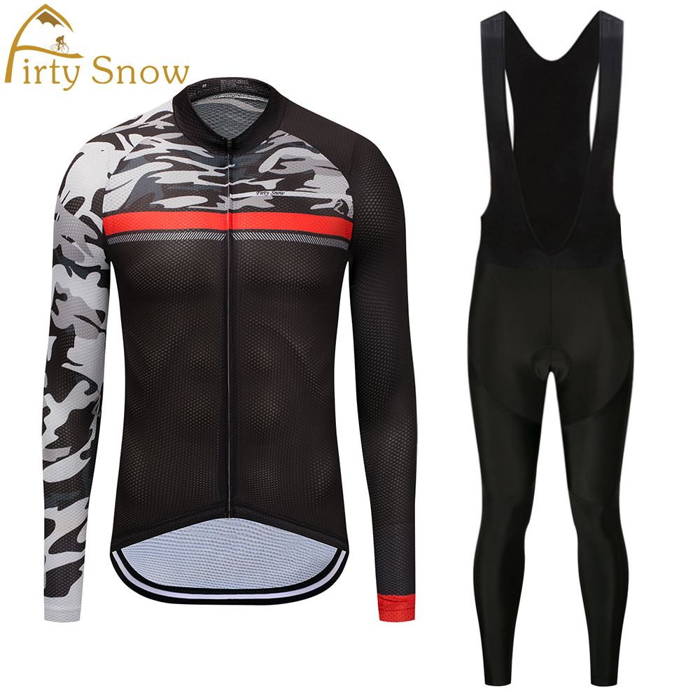 Firty sonw 2018Team Cycling Jersey Quick Dry Long Sleeve Jerseys And Cycling Bib Pants Set Cycling Clothes Breathable