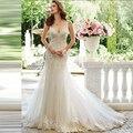 2017 de La Sirena vestido de Novia de la Correa de Espagueti de Botón Volver Tribunal Tren vestido de Novia de Encaje Vestidos de novia Vestido De Novia