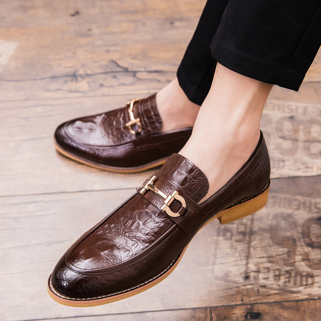 ROMMEDAL Crocodile Pattern Shoes Man Leather Casual Flat Male PU  Footwear Lazy Loafers British Style Nightclub Party Shoes 2019