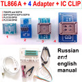 Tl866cs programador 4 adaptadores + IC clipe russo inglês manual de alta velocidade TL866 PLCC AVR PIC Bios 51 MCU EPROM programador