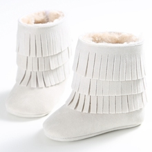 Super Winter warm 3 Layer Tassels Baby Moccasins Fleece Suede Leather Fringed Boot Infant Toddler Soft Bottom Thick Cotton Boots