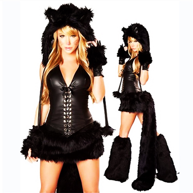 sex yblack Plush Catwoman animal costume Halloween sexy pokemon cosplay dress nightclub DS with shackle Tiger installed clothing