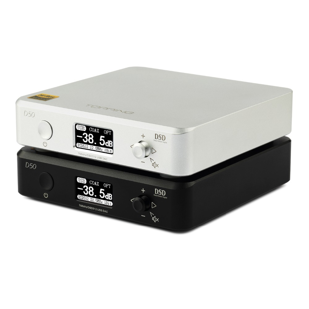 NEW TOPPING D50 / 50S MINI HIFI AUDIO Decoding ES9038Q2M *2 USB DAC XMOS XU208 DSD512 32Bit / 768Khz OPA1612 USB/OPT/COAX input