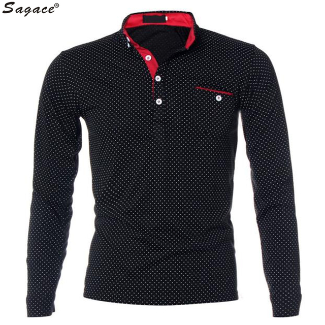 2017 Mens Slim Fit Long Sleeve Polo Shirt Male Polka Dot Print Pocket Casual Bottom Shirt Business Man New Polos Tee Sep16