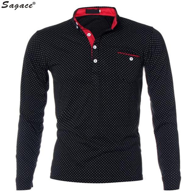2017 mens slim fit de manga larga polo camisa masculina de lunares Bolsillo de impresión Camiseta Bottom Casual Hombre de Negocios Nuevos Polos Tee Sep16