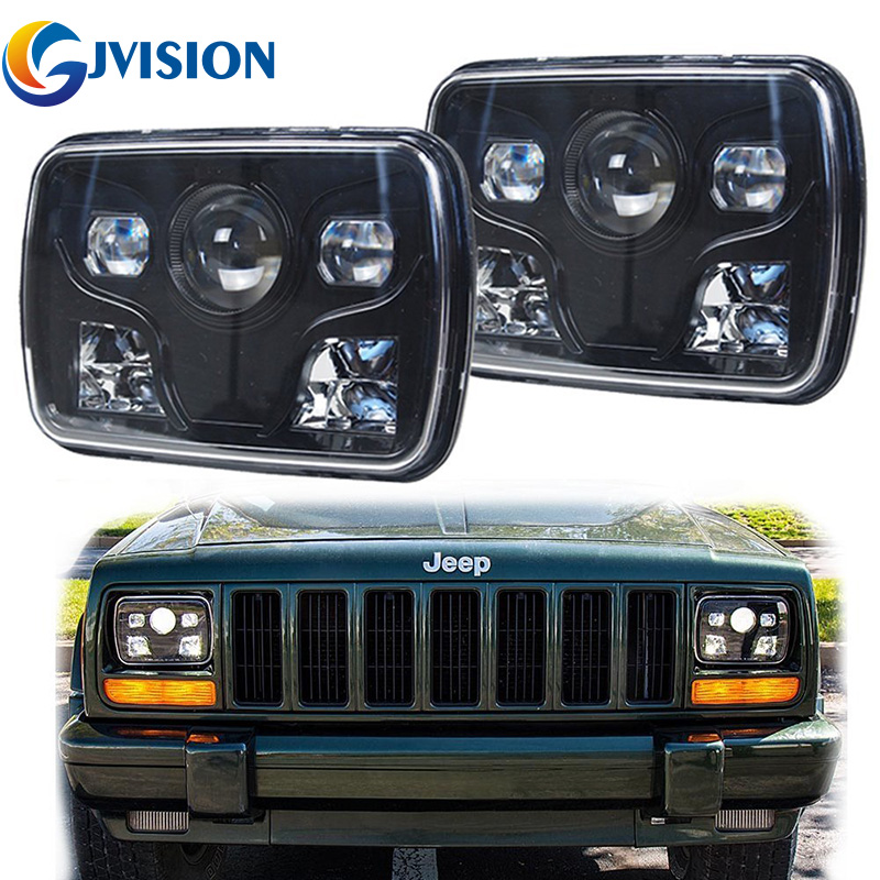 For Jeep Cherokee XJ Motorcycle 7x6 inch headlights 5x7'' Rectangular led High/Low led Projector head Light the mortal instruments 6 city of heavenly fire