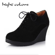 New Womens Scrub Surface Wedge Bootie High Heel Ankle Boot Shoes Woman Fashion Platform Black High Wedge Casual Shoes