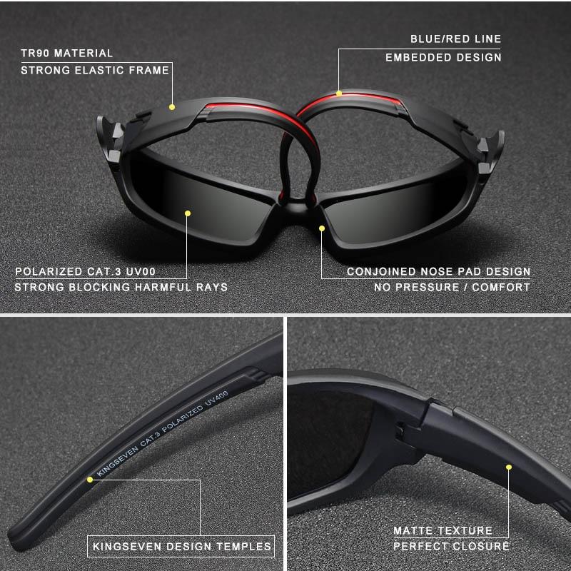 KINGSEVEN Brand 2018 Mäns polariserade solglasögon TR90 Frame Night - Kläder tillbehör - Foto 2