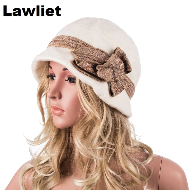 A374 Ivory Bucket 100% Wool Women Winter Hats Women Winter Cap Luxury with Flower Design