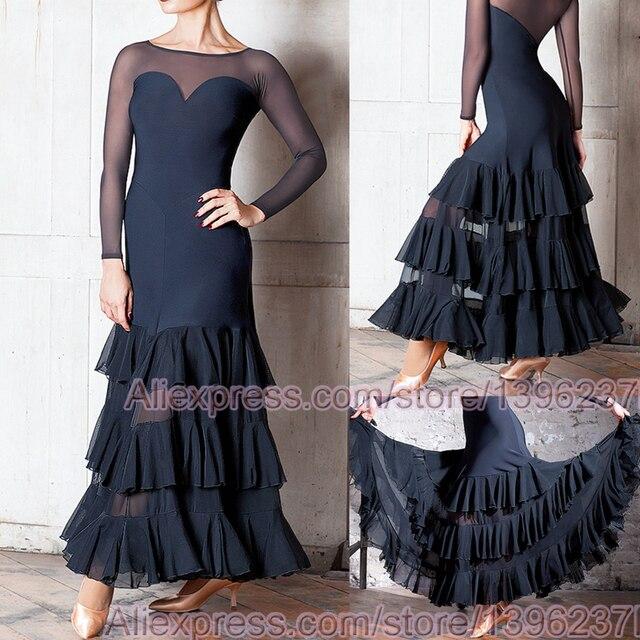 Vestidos de baile de competición de salón para mujer, falda de Flamenco barata, elegante, estándar, 2020