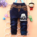 Hot Sale!2017 new arrive ,spring amd autumn baby boys Fashion eye plaid stitching Trousers,Infant denim jeans pants,V1073