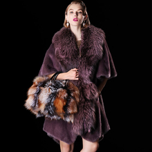 2016 High Quality Thick Red Green Purple Gold Full Pelt Long Mink Fur Coat with Fox Fur Collar