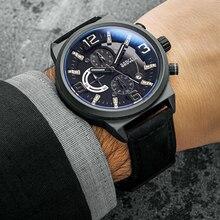 BAOGELA hommes noir sport Quartz montres mode décontracté chronographe analogique affichage montre-bracelet pour homme lumineux