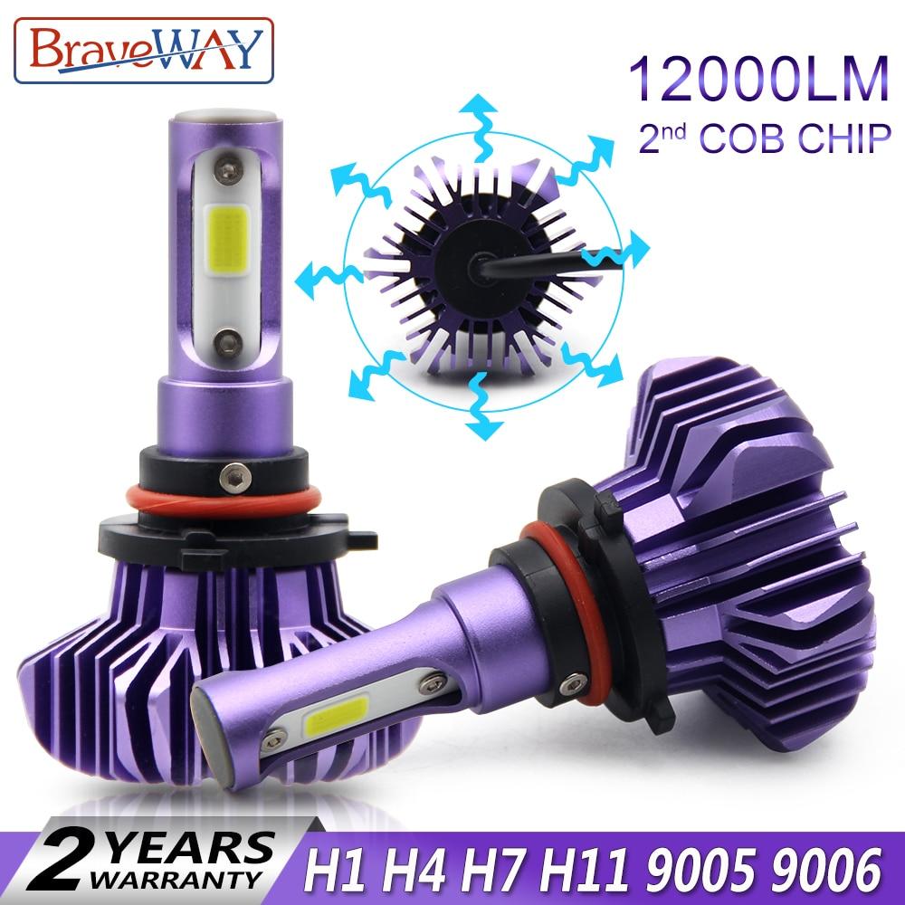 BraveWay luz Led para Led Auto H4 H7 H11 9005 9006 H1 faro hielo bombilla Led faro del automóvil del coche del diodo lámparas H1 bombillas LED