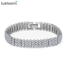 LUOTEEMI Europe Fashion Luxury Pure Brilliant Cut Zircon Prong Setting GeometricTennis Bangle Bracelets For Women Wedding