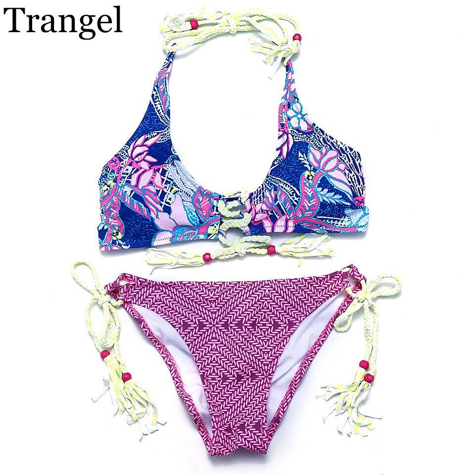 Trangel new arrival sexy women 2017 bikini Brazilian bikini swimwear print top bikini swimsuit EG6708