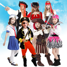 Free shipping pirate captain clothing cosplay suit adult men and women dance party costumes Halloween Christmas Children playing