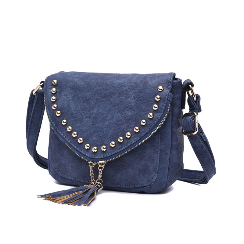 Stylish Rivet Cute Tassels Ladies Saddle Bag Nubuck Leather Fashion Small Crossbody Bag Retro Women Designer