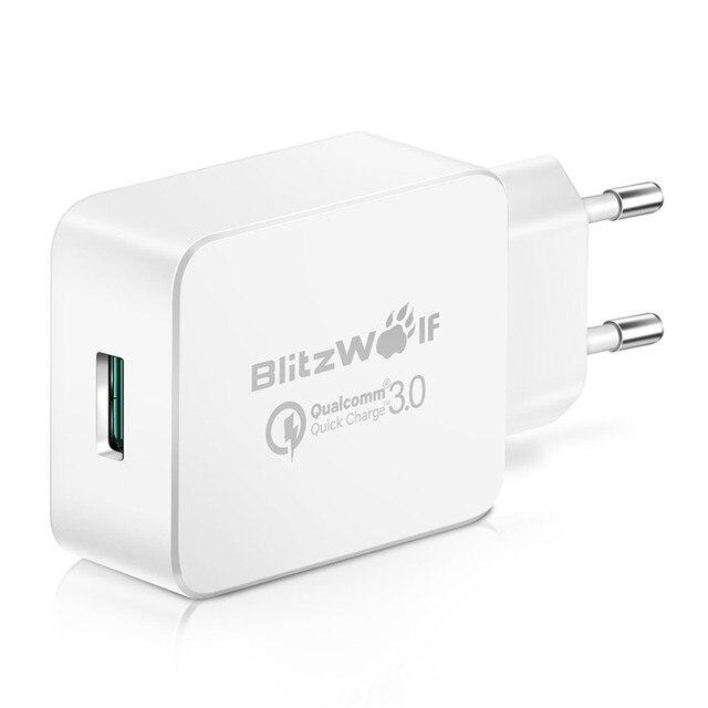 BlitzWolf Новый ЕС Быстрая Зарядка 3.0 18 Вт Micro USB Зарядное Устройство USB Адаптер с Power3S Для Xiaomi Для Samsung Зарядные Устройства