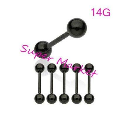 Оптовая Продажа Черный Цвет язык бар покрытие вакуум Титан прямые пирсинг Кольца анодированного 316L стального стержня оптовая продажа