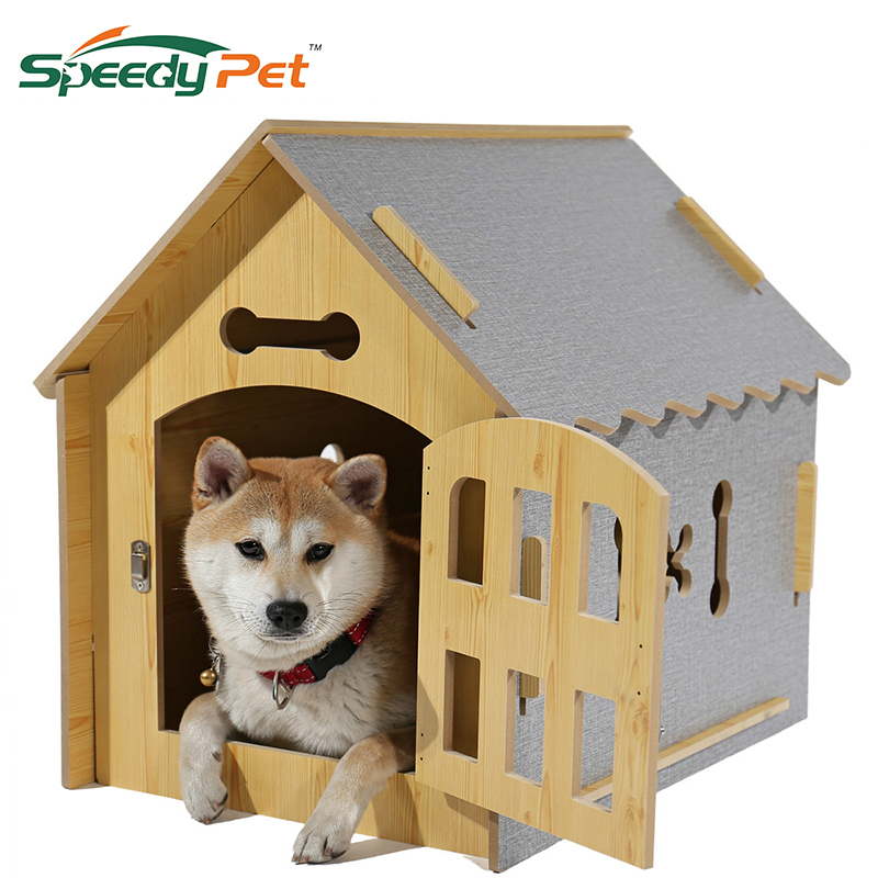 Domestic delivery Fashion Dog DIY House Crate Wooden Kennel Indoor Condo Pet Shelter for Small Medium Dogs and Cats ...