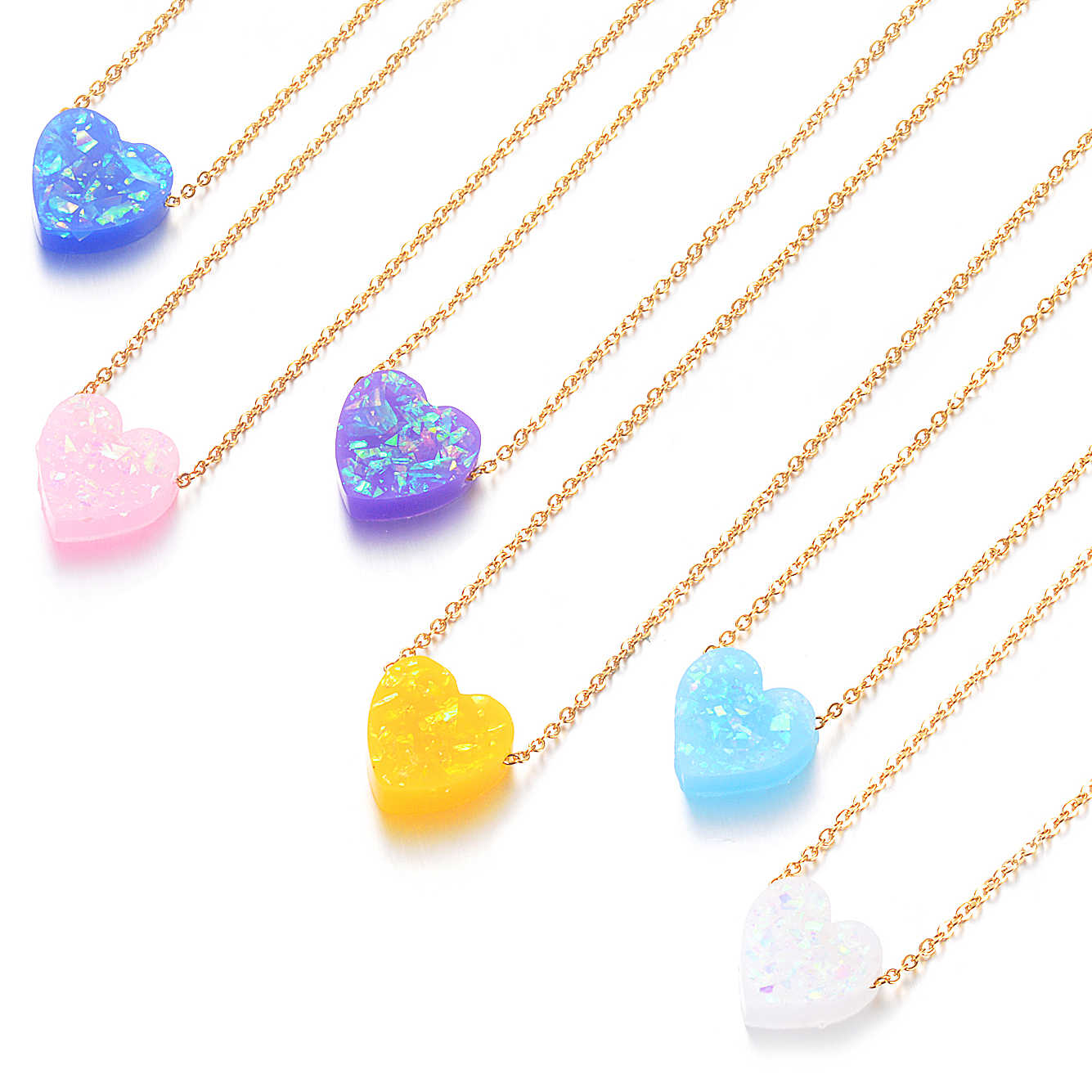 6 Colors 12mm Heart Shape Opal Stone Pendant Necklace 316L Stainless Steel Gold Chain Collar Jewelry Girlfriend Gifts
