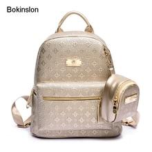 Bokinslon Для женщин рюкзак женская мода школы Для женщин мешок все матч PU кожа Вышивка Крестом Пакет бренд рюкзак для девочки