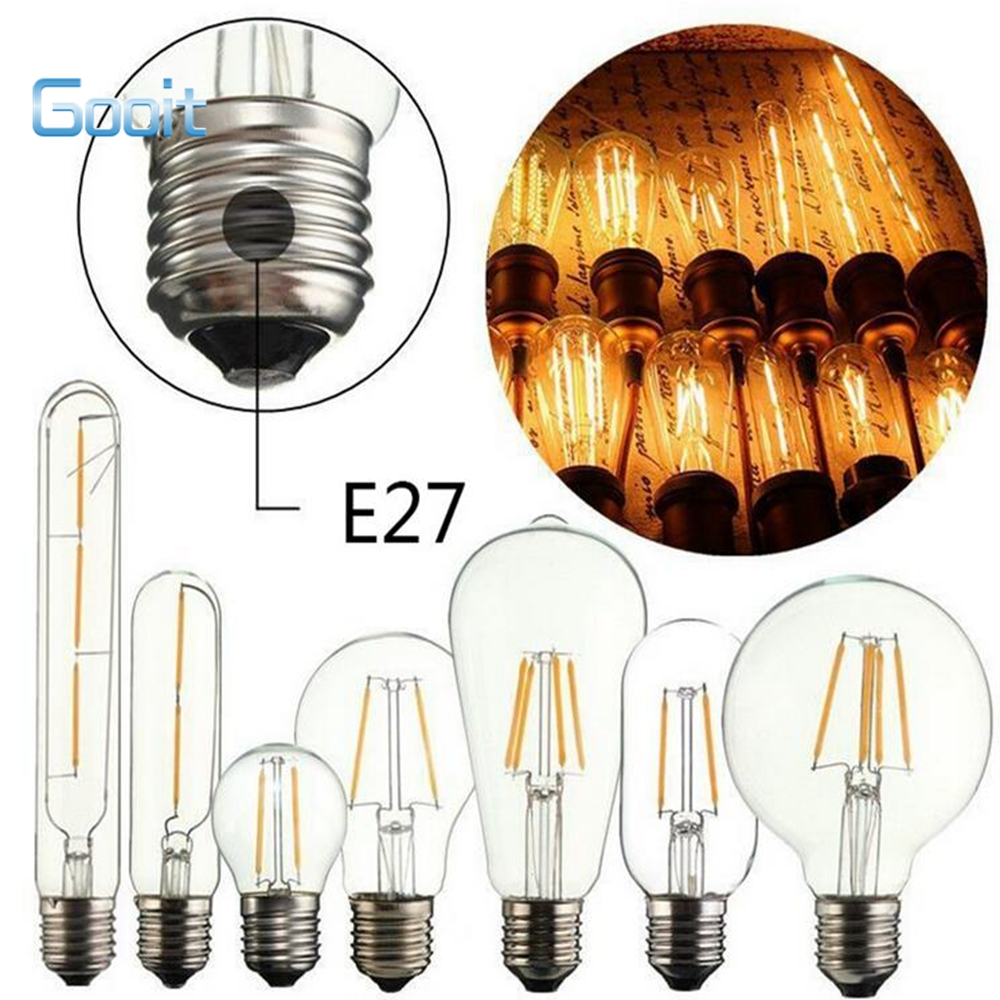 LED Bulb E27 Filament Lights Glass Bulb 220V 240V 4W 8W Lamp Antique Retro Vintage Edison Lamp Filament led bubble ball bulbs