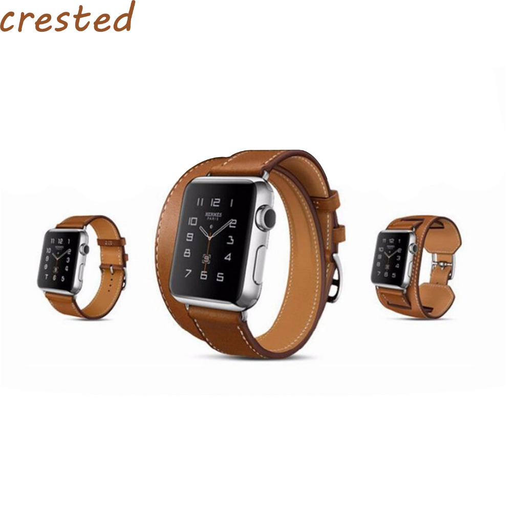 CRESTED Genuine Leather strap for apple watch band 42mm/38 bracelet leather band high quality belt strap for iwatch 1/ 2/3 high quality black color leather 38 42mm width apple watch strap band for apple watches