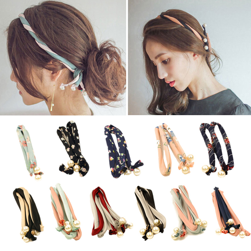 Fashion New Pearls Print Headband Korean 2 Layers Bandanas Lady Sweet   Headwear   Jewelry For Women Girls Elegant Hair Accessories
