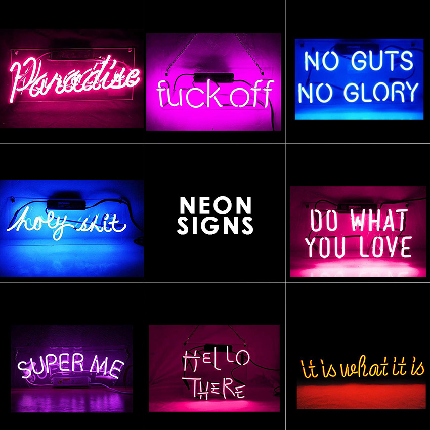 Neon Light Sign Real Glass Handmade Cool Decorative Signs Real Glass Neon Light Sign PinkLamp (Various Sizes And Colors)