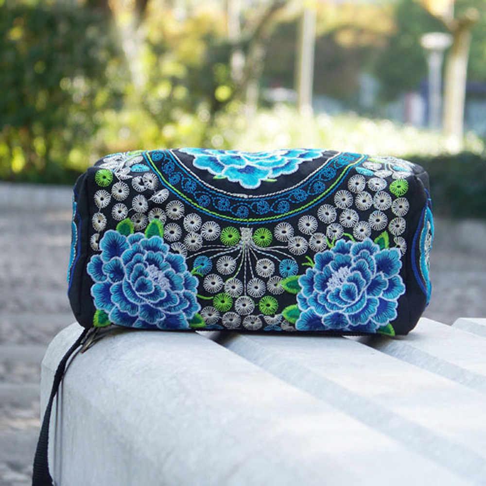 Длинный кошелек для женщин и девочек в этническом стиле ручной работы с вышитым ремешком, портативный клатч на молнии, винтажный цветочный холщовый кошелек 2019