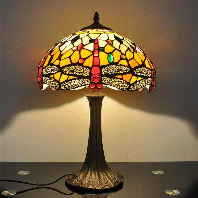 30CM American Red Dragonfly Tiffany Lamp Study Bedroom