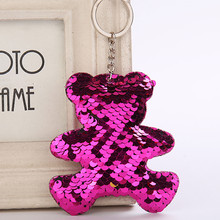 Купить с кэшбэком Cute Women Bear Keychain Glitter Sequins Key Ring for Women Handbag Purse Pendants Holder Keyring Porte Clef Llaveros