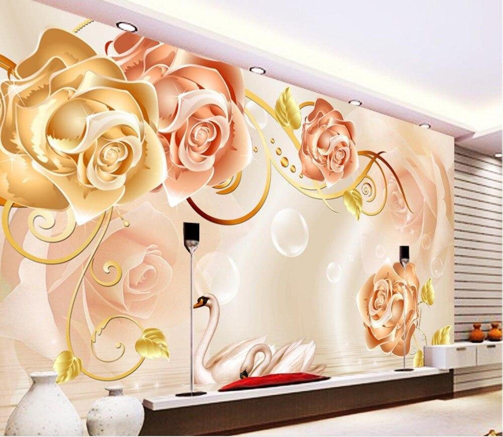 Золотая Роза 3D ТВ фон объемный цветок обои Papel Parede Настенные обои  украшения дома 66180ee85cf