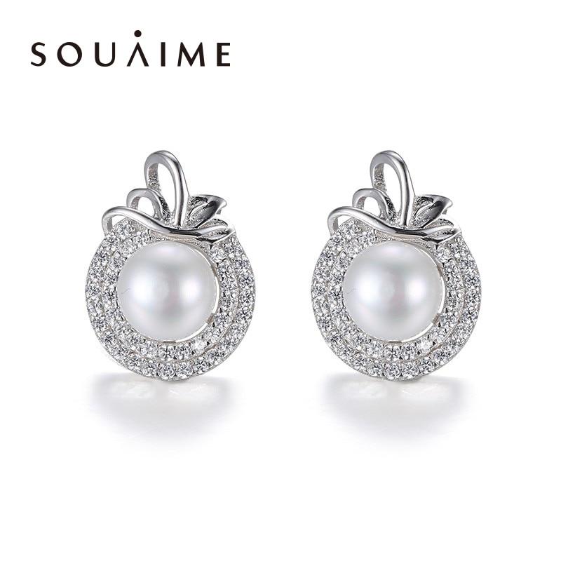 6e0eb5d23f38 Souaime Plata de Ley 925 y Perla Pendientes Apple Pendientes lindo  Pendientes para las mujeres moda Sterling-plata-joyería