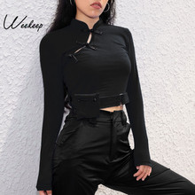 Weekeep Women Chinese Style Long Sleeve t shirt Knitted Spring Autumn Cropped High Street tshirt Removable Pocket Crop Top