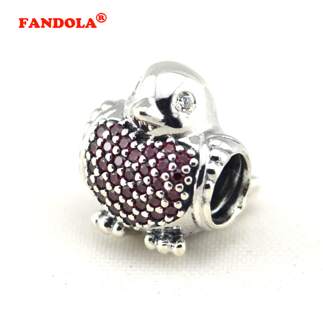 cd7a26ec4 Fits for Pandora Charms Bracelets Red Robin Beads with Red and Clear CZ  100% 925 Sterling Silver Jewelry Free Shipping