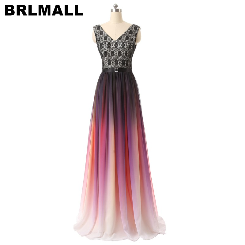 BRLMALL Sexy V Neck Gradient   Prom     Dress   With Belt Lace Long Evening   Dress   Lace Up Chiffon A-Line Cheap Party Gown vestido longo